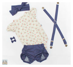 Puckered Bloomers - Navy Dot - Moocuzzi