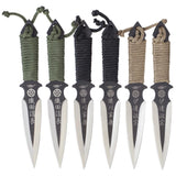 #UZK-TRW-006UZI Throwing Knife VI, Six Black and Silver Stainless Steel Blades with Nylon Wrapped Handles, Olive Drab, Black and Tan