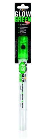 Life Gear #LG116 Multimode 4N1 Glow Stick, Flashlight, Safety Flasher, Emergency Whistle, Green