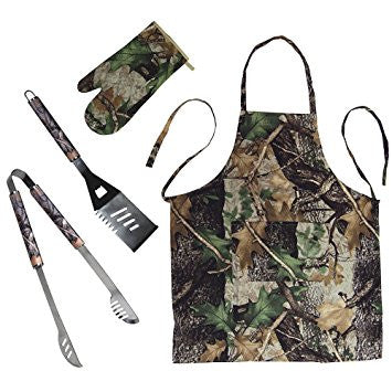 RIVERS EDGE BBQ TOOL APRON OVEN CAMO 4 PIECE MITT SET W/ BOTTLE OPENER