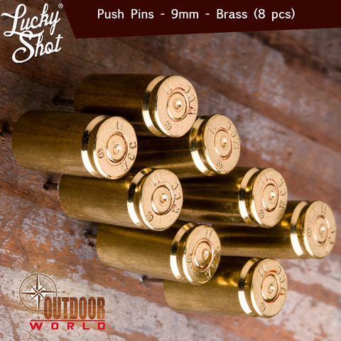 LSPP-9b / 9MM Bullet Push Pins (Pack of 8)-Brass