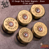 LSM5-12b / 12 Gauge Real Bullet Magnets - Brass (5 per pack)
