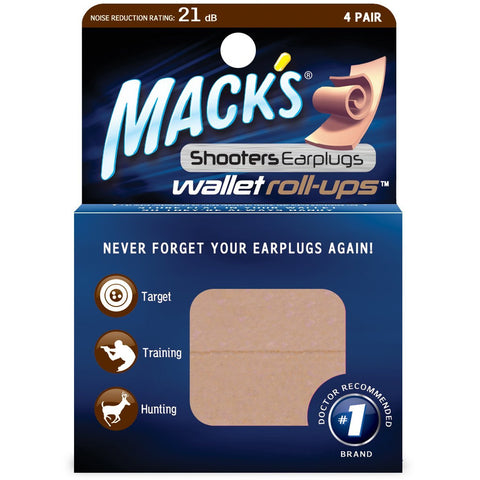 Mack's Shooter's #4498 Earplugs Wallet Roll-ups, 4 Pair