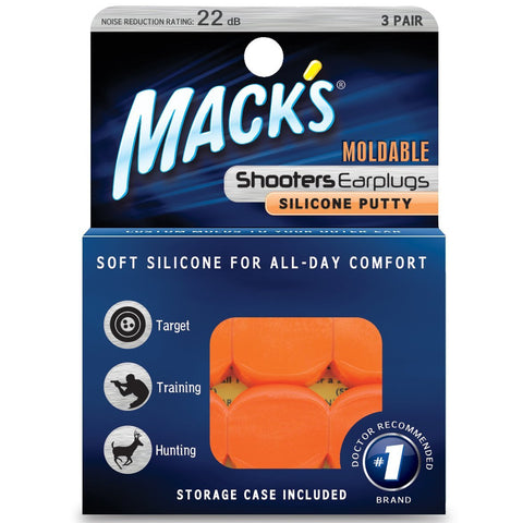 Mack's Shooters #43 Moldable Silicone Putty Ear Plugs, Orange, 3 Pair