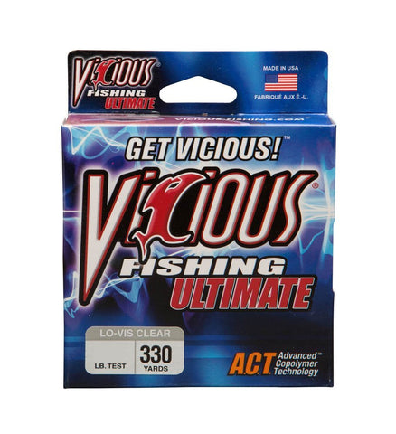 Vicious Fishing VCL-8 Ultimate 330-Yard Fishing Line, Low Visibility Clear, Blue