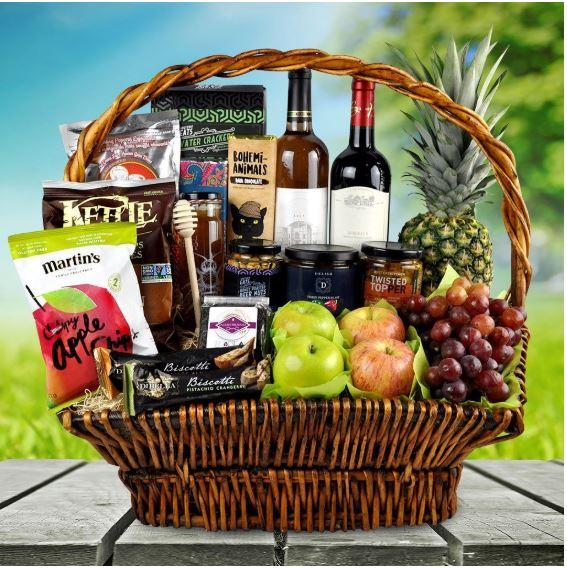 Thanksgiving Fruit & Wine Gift Baskets Canada
