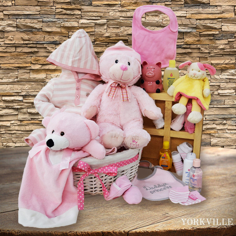 Baby baskets toronto yorkvilles canada this beautiful baby gift baskets canada for her new baby girl soft plush toys negle Choice Image