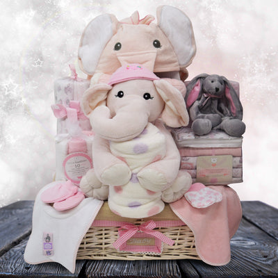 Pink Elephants Baby Basket