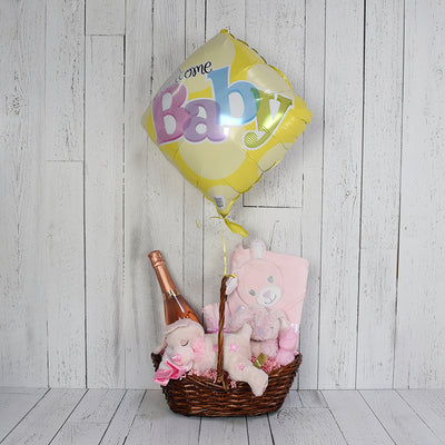 Pretty in Pink Baby Gift Basket with Champagne