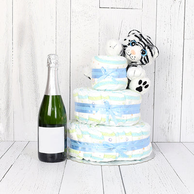 Cuddly Diaper Cake Gift Set with Champagne, baby gift baskets, champagne gift baskets