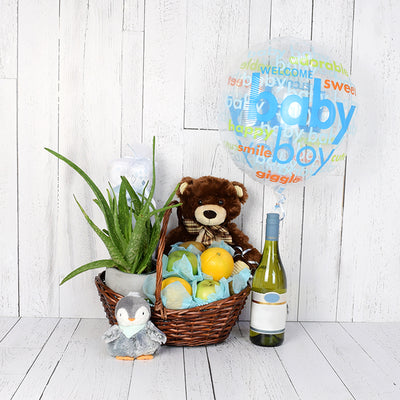 New Beginnings Baby Gift Set with Wine, baby gift baskets, wine gift baskets