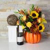 Bouquet of Fall Flowers & Champagne, floral gift baskets, champagne gift baskets, Thanksgiving gift baskets