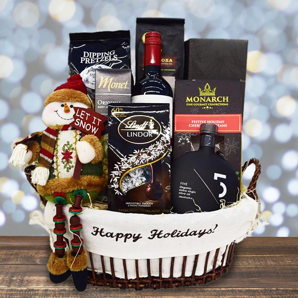 Happy holidays christmas gift basket with wine yorkvilles canada negle Gallery