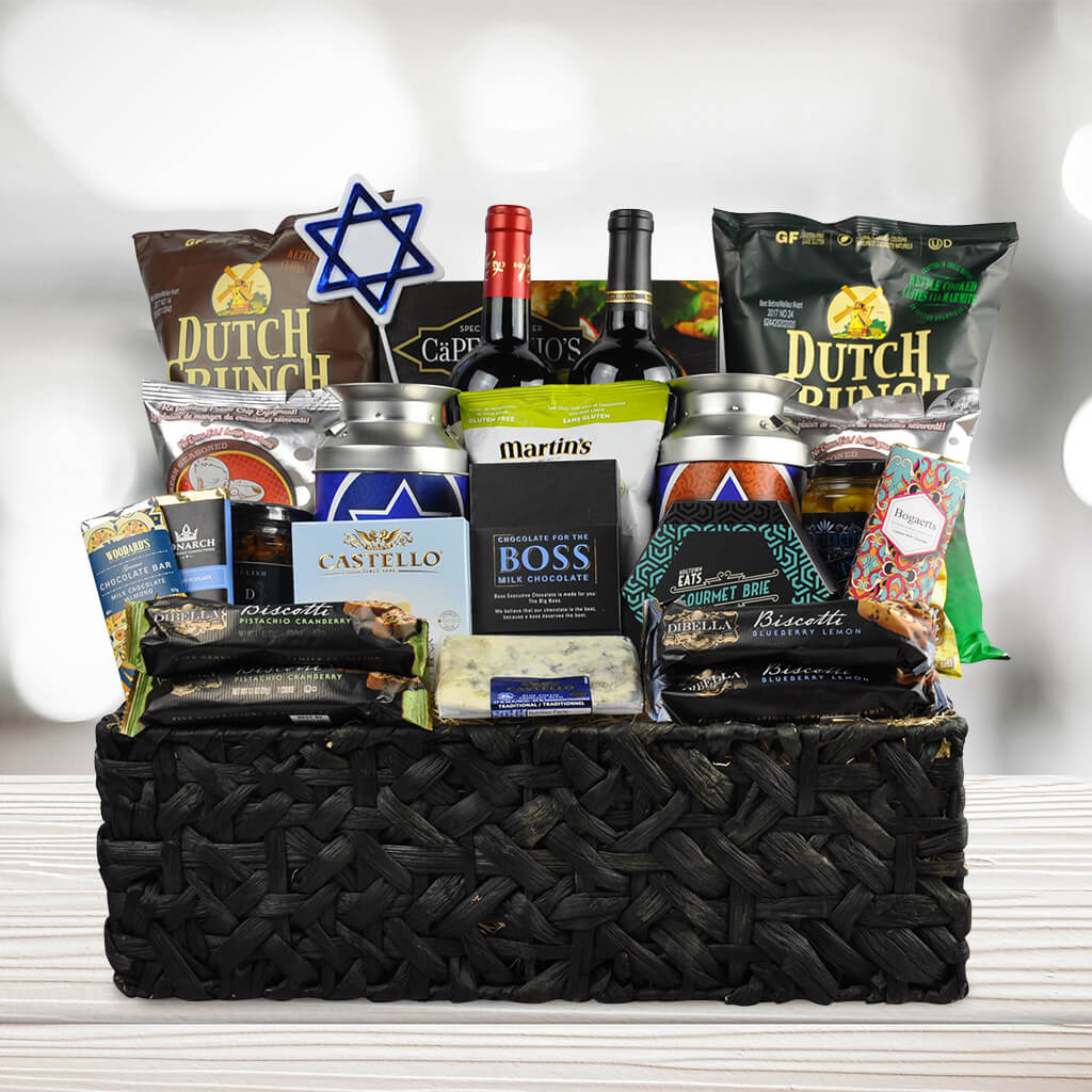 The happy hanukkah wine gift basket hanukkah gift baskets the happy hanukkah wine gift basket negle Image collections