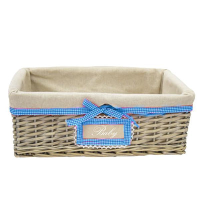 Wicker Baby Basket with liner and blue trim