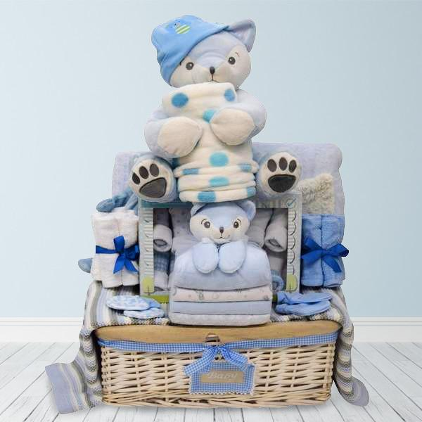 Baby gift baskets yorkvilles canada cuddly blue baby gift basket negle Choice Image