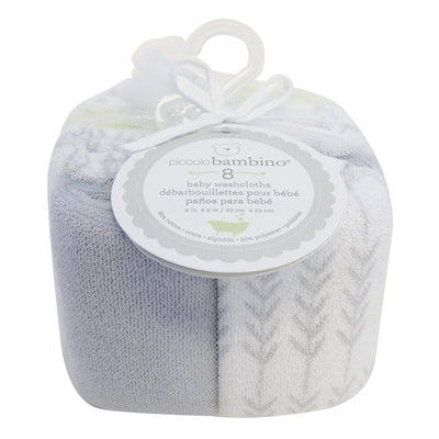 Set of 8 terry cloth baby washcloths 23x23cm