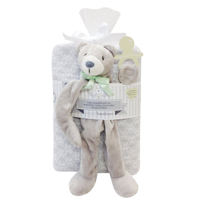 100% Polyester Baby Swaddle gift set with pacifier holder