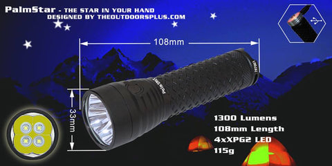 The Outdoors Plus, PalmStar Quad Cree XPG2 LED Max 1300 Lumens - The Outdoors Plus