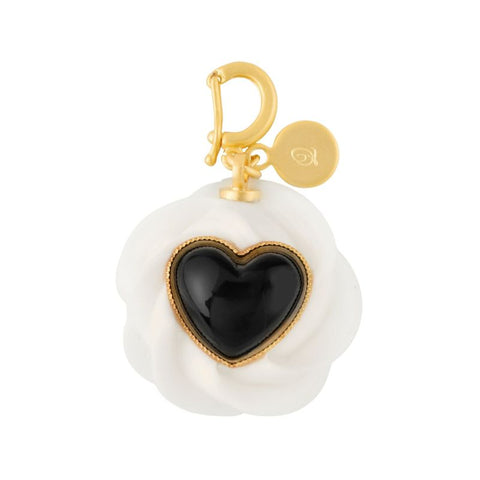 Black Big Heart Studs x Cream Charm - Black
