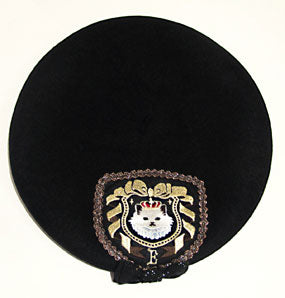 Embroidered Cat Beret - Black