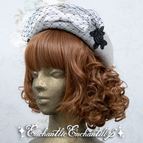 Beautiful Ribbon Tulle Beret - Grey