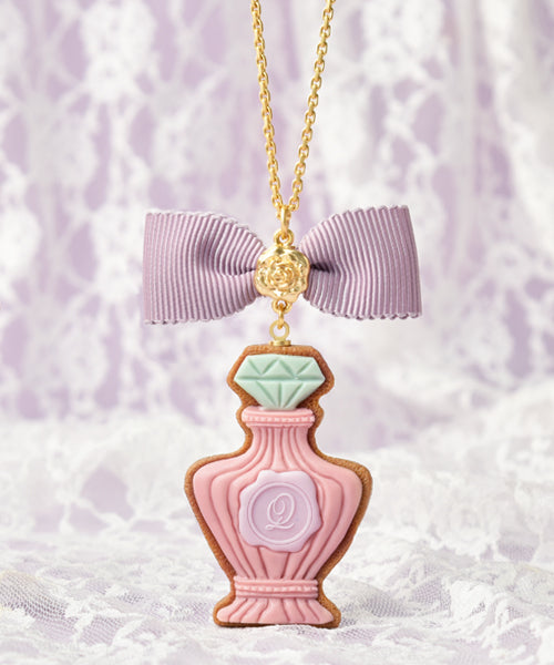 [Q-pot. X Misako Aoki] Classic Rose Perfume Sugar Cookie Necklace - Pink