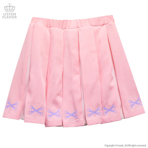 Lace-Up Print Two-Tone Pleated Skirt - L. Pink
