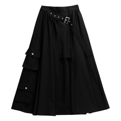 Layered Cargo Maxi Skirt - Black