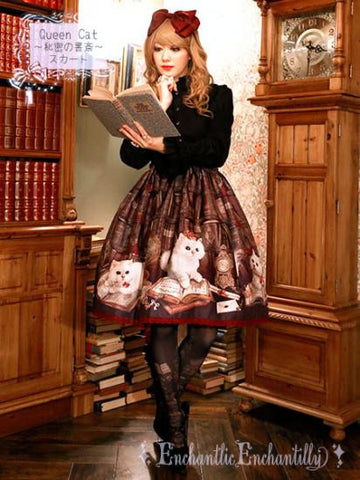 Queen Cat ~Secret Study~ Skirt Black