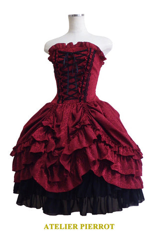 Brocade Corset Dress - Wine