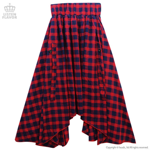 Bat Hemline Maxi Skirt - Red