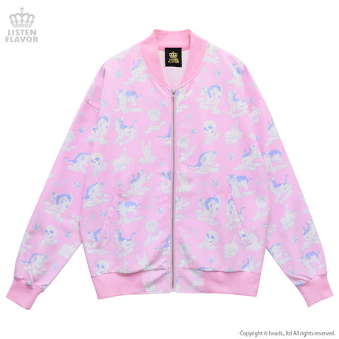 Kitten's All Over Pattern Jacket - Pink