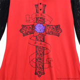 Gothic Cross Sailor Long Sleeve - Red