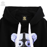 Dangerous Gas Mask Bear Sleeve Ring BIG Hoodie - Black