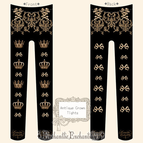 Antique Crown Tights - Black