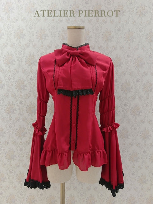 Stand Collar Princess Sleeve Blouse - Dark Red