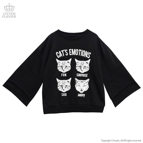 Cat's Emotions Bell Sleeve Sweater- Black