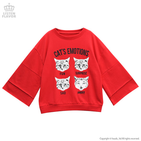Cat's Emotions Bell Sleeve Sweater- Red