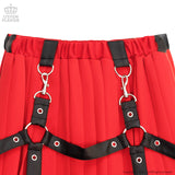 Pleated Maxi Skirt With Harness Belt - Red