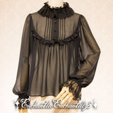 Dolly Tulle Lace Blouse - Black