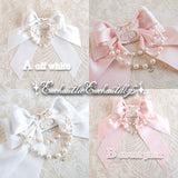 Logo Embroidery Pearl Ribbon Brooch