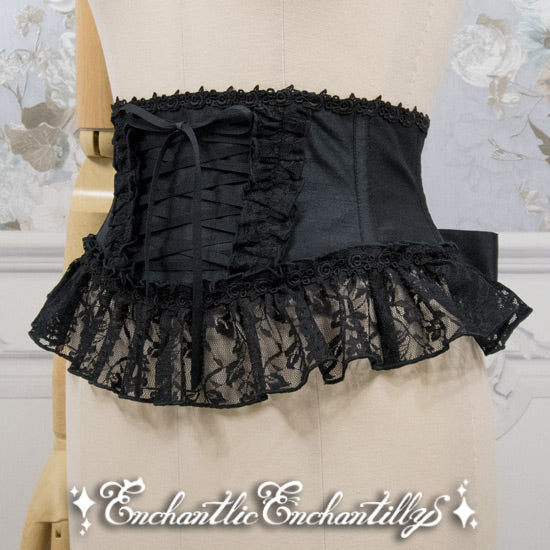 Ribbon Lace Corset - Black