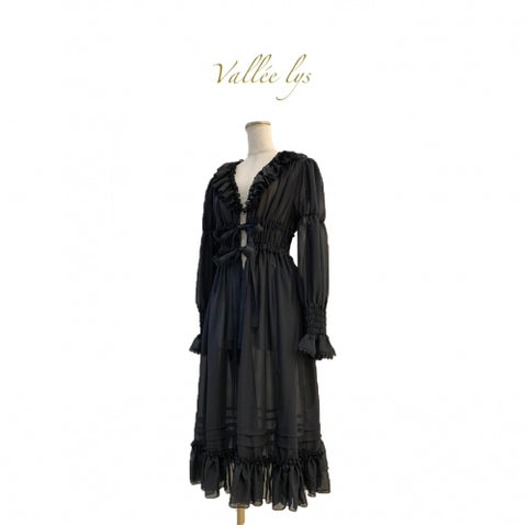 Valeries Frill Long Cardigan - Black