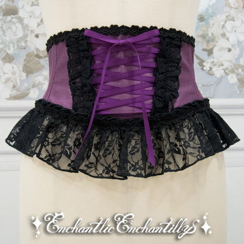 Ribbon Lace Corset - Purple x Black
