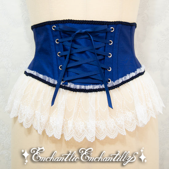 A Tulle Lace Ribbon Corset - Blue x White