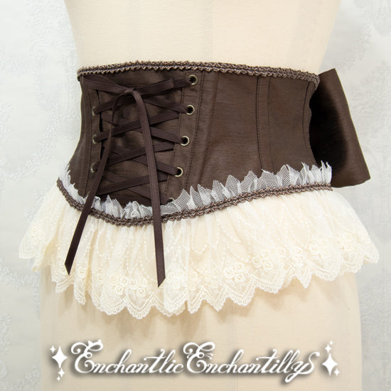 A Tulle Lace Ribbon Corset - Brown x Ivory