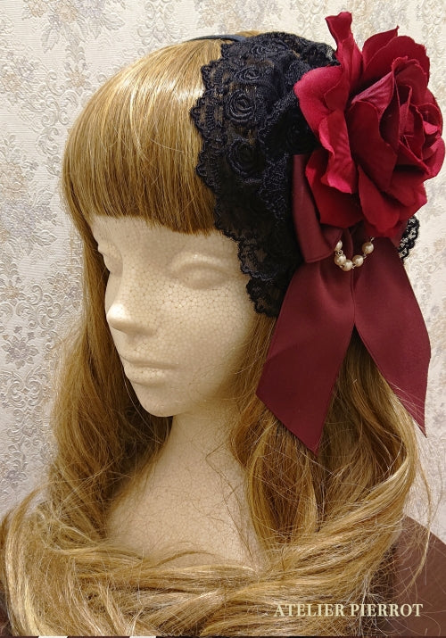 Rose Lace Headbow - Black x Red Rose