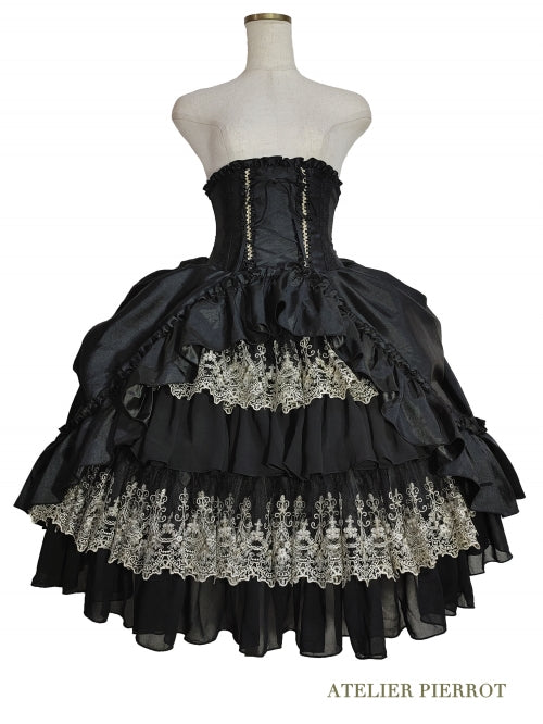 Charlotte Bustle Corset Skirt - Black x Gold