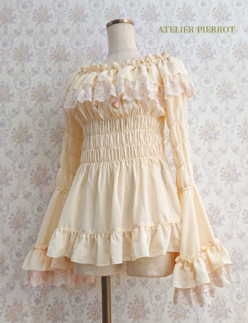 Lace Shirring Princess Sleeve Blouse - Ivory